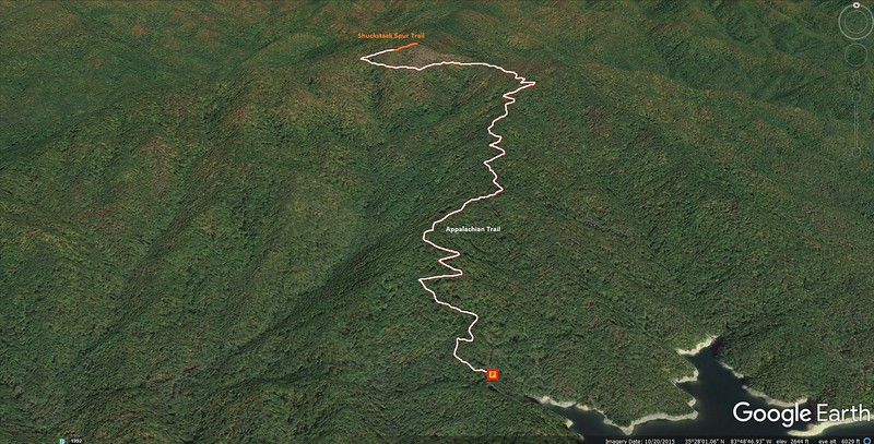 Shuckstack Lookout Tower Hike Route Map