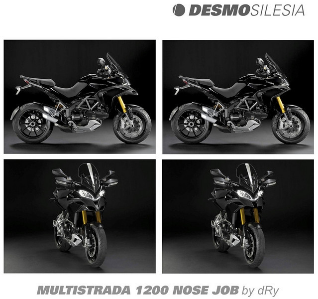 It appears that some people are not too keen on the Multistrada 1200's nose or beak (air intakes). Photoshop image from 'Dry' on a Polish Ducati forum:  http://desmosilesia.pl/forum/viewtopic.php?t=335&highlight=multistrada