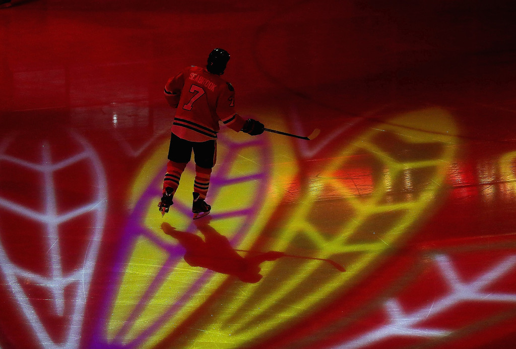 . Brent Seabrook #7 of the Chicago Blackhawks skates during player introductions before a game against the Colorado Avalanche at the United Center on March 6, 2013 in Chicago, Illinois. (Photo by Jonathan Daniel/Getty Images)
