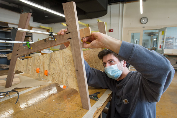 10/28/20 Students Working in Wood Design Class