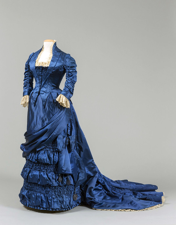 ". A dressmaker\'s receipt for this blue silk gown made for Lucretia Garfield show it cost $49.95, including $18 for labor. ""Lucretia\'s Dresses\"" is on display through July 31 at the James A. Garfield National Historic Site in Mentor. For more information, visit <a href=\""https://www.nps.gov/jaga/index.htm\"">nps.gov/jaga/index.htm</a>. (Submitted)"
