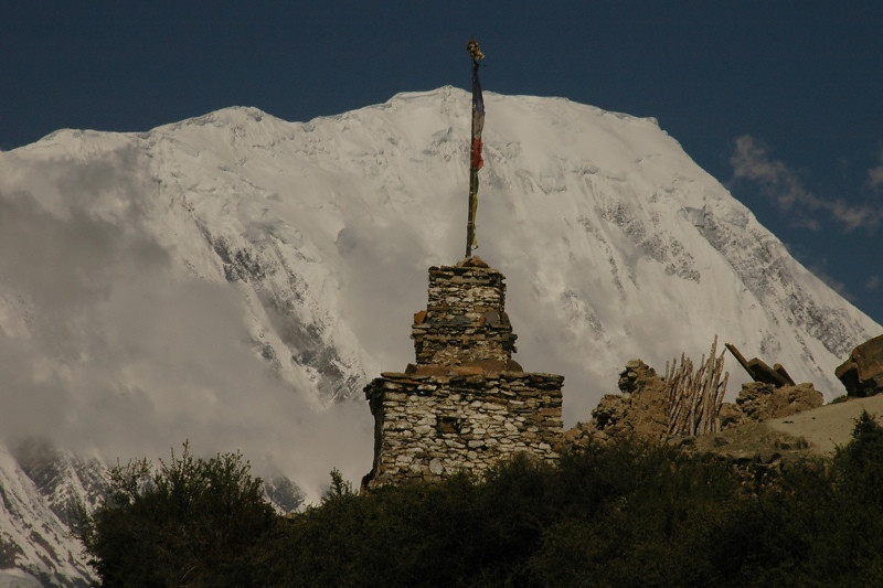 Chorten and Mountain Peak - Annapurna Circuit, Nepal