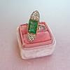 4.05ct Emerald and Old European Cut Diamond Ring 6