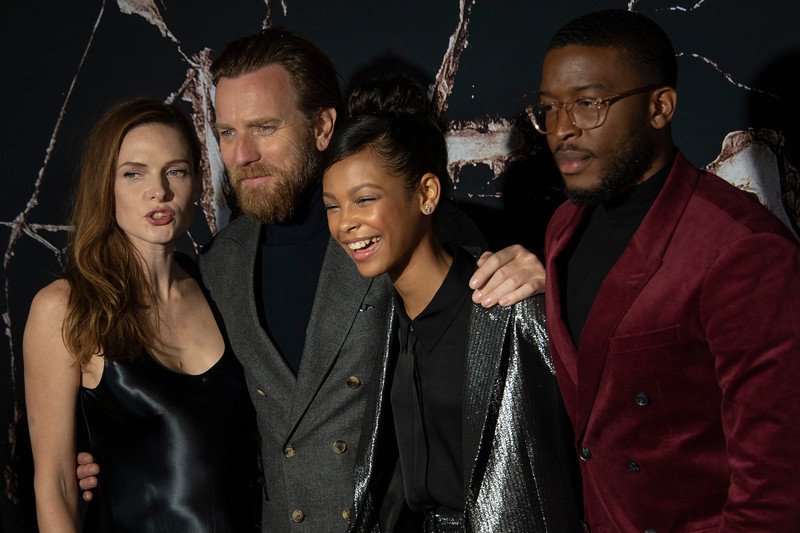 """LOS ANGELES, CALIFORNIA - OCTOBER 29: Rebecca Ferguson, Ewan McGregor, Kyliegh Curran and Zackary Momoh attend the premiere of Warner Bros Pictures' """"Doctor Sleep"""" at Westwood Regency Theater on Tuesday October 29, 2019 in Los Angeles, California. (Photo by Tom Sorensen/Moovieboy Pictures,)"""