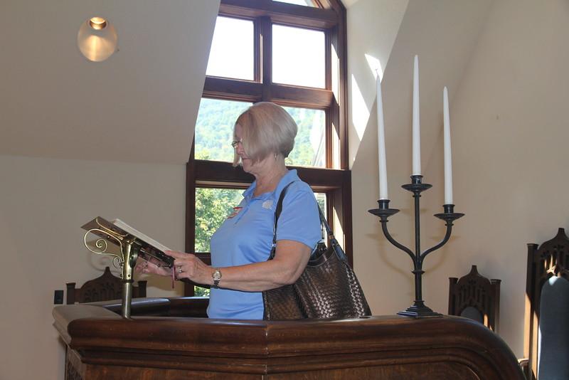 Kathy at the lectern