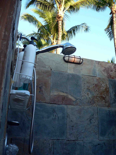 This is the outdoor bathroom & shower on the Maui Sunseeker jacuzzi deck. Great for washing sand off before you jacuzzi or if you have to check out and your flight isn't until that night they will keep your luggage for the day and let you shower off here before you have to go to the airport. We were very grateful for that. And taking an outdooor shower at sunset in Maui was pretty nice!