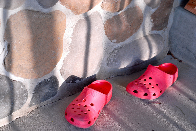 2011/5/4 – Lisa will wear her Crocs to work in the yard. She left them at the front door. The bright red against the stone wall and the shadows from the railing caught my eye.