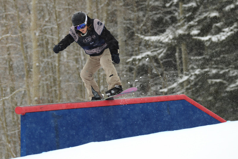 . Isabel Derungs of Switzerland is in action during the women\'s slope style final of the Burton U.S. Open. Vail, Colorado. March 7. 2014. (Photo by Hyoung Chang/The Denver Post)