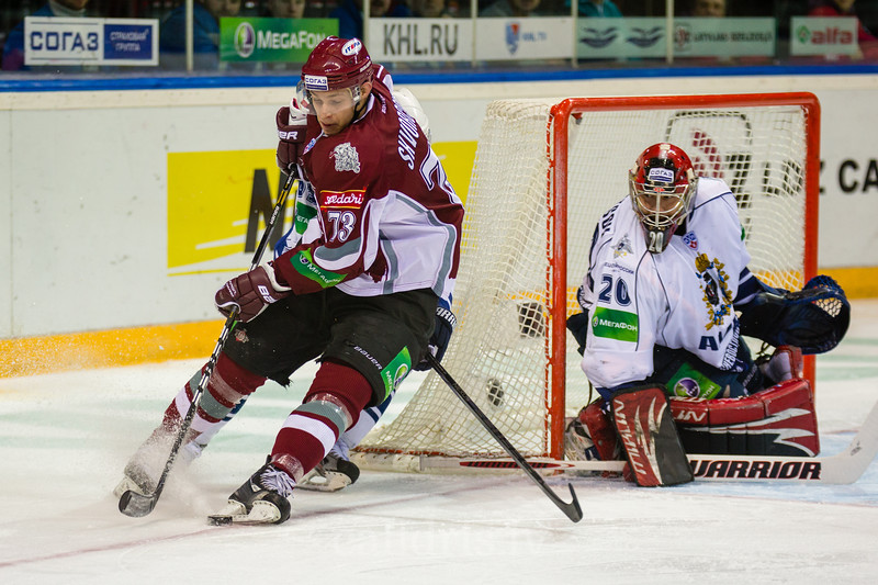 Gunars Skvorcovs (73) of Dinamo Riga behind the goal of Amur Khabarovsk during the first game in final series of Nadezhda Cup between Dinamo Riga and Amur Khabarovsk In Arena Riga