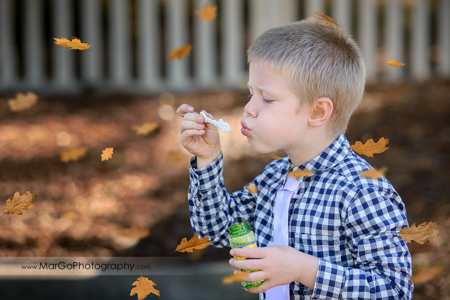 young boy in checkered shirt blowing bubbles at Mountain View Shoreline Lake Park