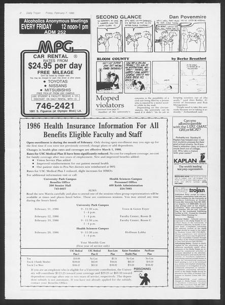 Daily Trojan, Vol. 100, No. 21, February 07, 1986