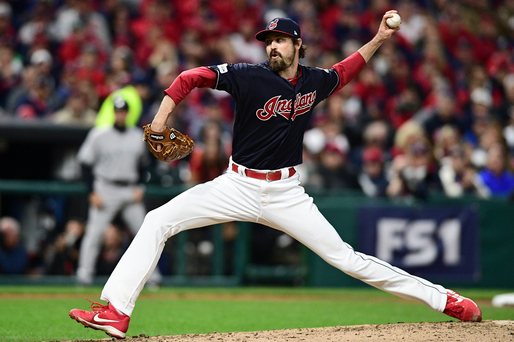 . Cleveland Indians relief pitcher Andrew Miller delivers in the fifth inning of Game 5 of baseball\'s American League Division Series against the New York Yankees, Wednesday, Oct. 11, 2017, in Cleveland. (AP Photo/David Dermer)