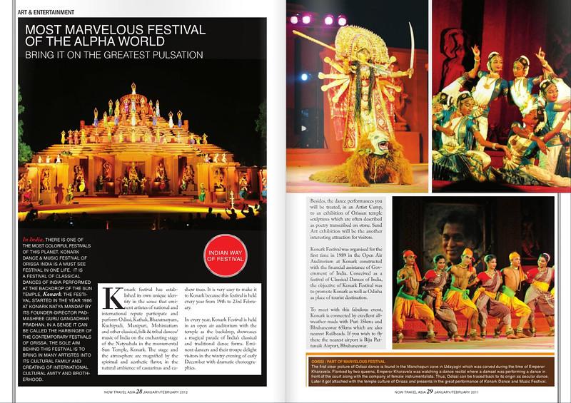 Photos shot by Suchit Nanda of the Konark Festival in print in NOW Travel Asia Magazine. Jan-Feb 2011 issue. http://www.nowtravelasia.com/ http://issuu.com/nowtravelasiamagazine/docs/now12_ebook_smallest_size