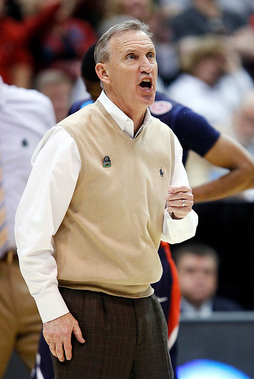 . Belmont head coach Rick Byrd yells at officials in the second half during a second-round game in the NCAA college basketball tournament against Arizona in Salt Lake City, Thursday, March 21, 2013. Arizona won 81-64. (AP Photo/George Frey)