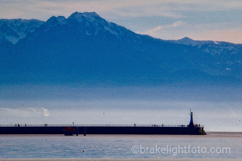 Ogden Point Breakwater & Olympic Mountains