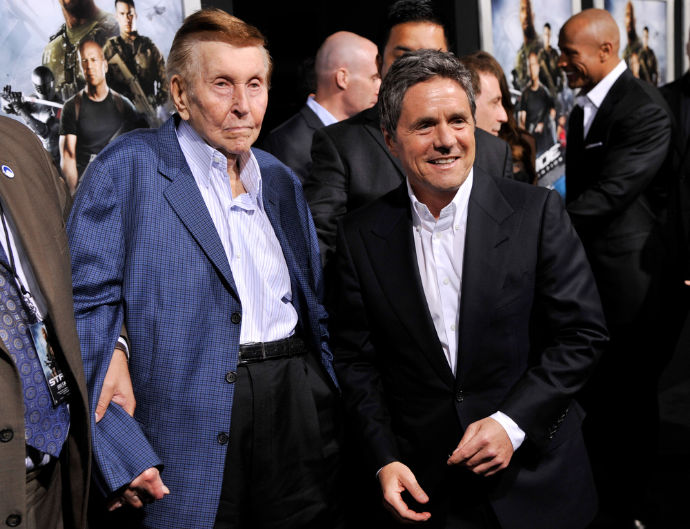 ". Sumner Redstone, left, majority owner and chairman of the board of the National Amusements theater chain, and Brad Grey, chairman and CEO of Paramount Pictures, pose together at the Los Angeles premiere of the film ""G.I. Joe: Retaliation\"" at the TCL Chinese Theatre on Thursday, March 28, 2013 in Los Angeles. (Photo by Chris Pizzello/Invision/AP)"
