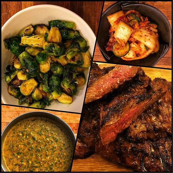 First crack at a dinner from @chefbillkim's new book #KoreanBBQ turned out amazing! On the table tonite (clockwise from upper left) Brussels Sprouts with Korean Pesto; Kimchi Salsa; Korean BBQ Skirt Steak; Korean Pesto