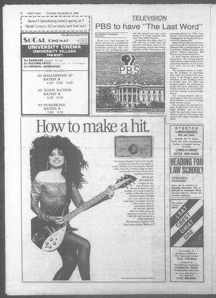 Daily Trojan, Vol. 107, No. 41, November 03, 1988