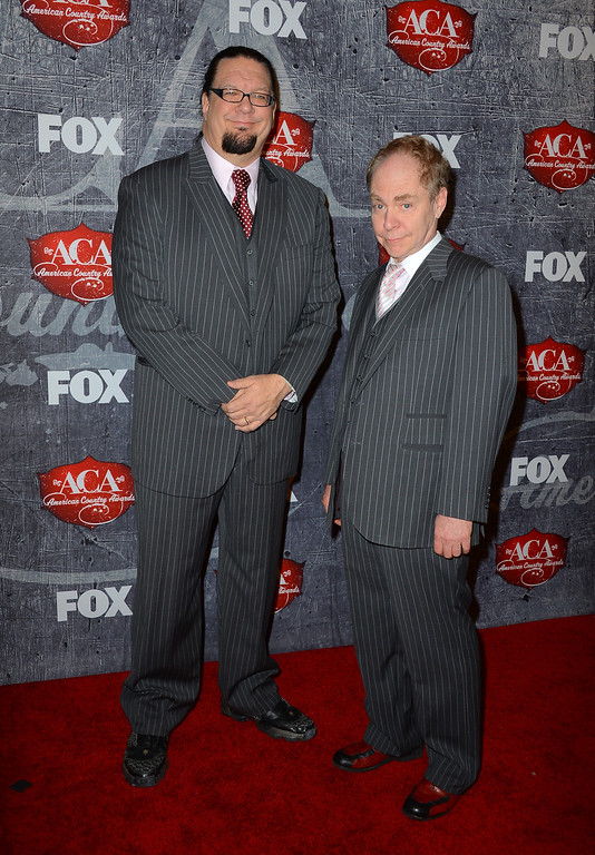 . LAS VEGAS, NV - DECEMBER 10:  Penn Jillette (L) and Teller of the comedy magic team Penn & Teller arrive at the 2012 American Country Awards at the Mandalay Bay Events Center on December 10, 2012 in Las Vegas, Nevada.  (Photo by Frazer Harrison/Getty Images)