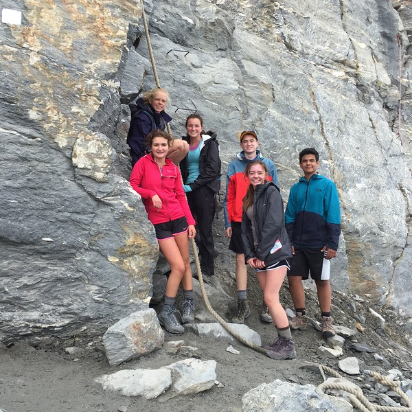 Laila, Elsie, Peyton, Henry, Ashlyn, and Neel at the base of the Matterhorn