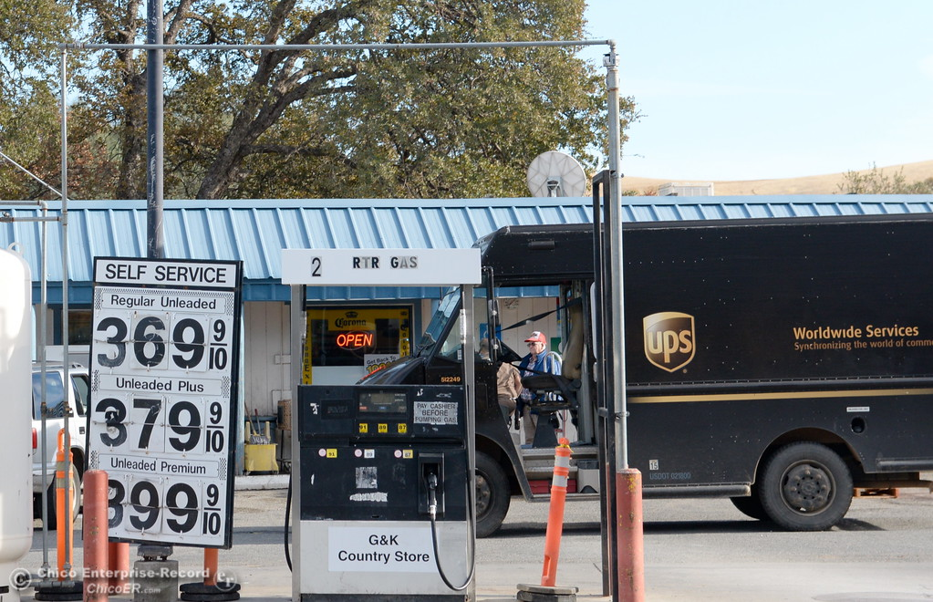 . A UPS truck makes a stop at the G&K Country store in Rancho Tehama where a gallon of premium is just under $4 per gallon Tues. Nov. 14, 2017. The community was shaken Tuesday when a gunman shot and killed four others and wounded 10 before law enforcement killed him Tuesday.  (Bill Husa -- Enterprise-Record)