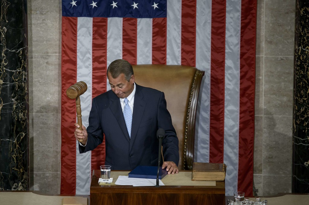 . Speaker of the House John Boehner,R-OH, bangs a gavel after being elected speaker of the House of Representatives as the 114th Congress convenes on Capitol Hill January 6, 2015 in Washington, DC. Republican John Boehner was re-elected and sworn in Tuesday as speaker of the US House of Representatives, overcoming a surprisingly robust attempt to oust him by two dozen hardcore conservatives. Boehner received 216 of the 408 votes cast in the chamber, winning as expected over Democrat leader and former House speaker Nancy Pelosi, who received 164 votes.  BRENDAN SMIALOWSKI/AFP/Getty Images