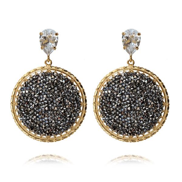 Alexandra Crystal Rocks Earrings / Metallic Light Gold / Gold