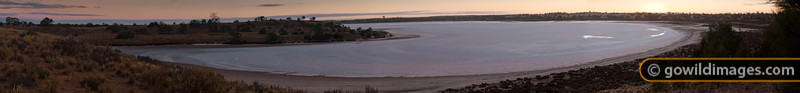 Sunrise panorama of Lake Crosby, one of the pink salt lakes in Murray-Sunset NP. 104 megapixel image - can be printed up to 2.5m wide at full photo quality