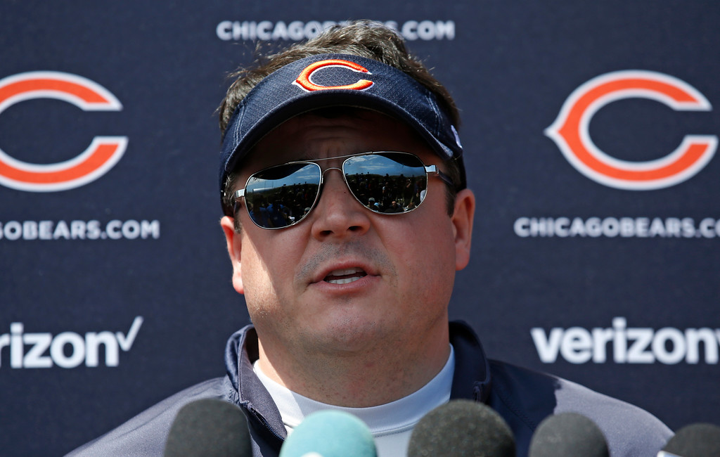 . Chicago Bears offensive coordinator Dowell Loggains speaks after team\'s NFL football rookie minicamp in Lake Forest, Ill., Friday, May 12, 2017. (AP Photo/Nam Y. Huh)