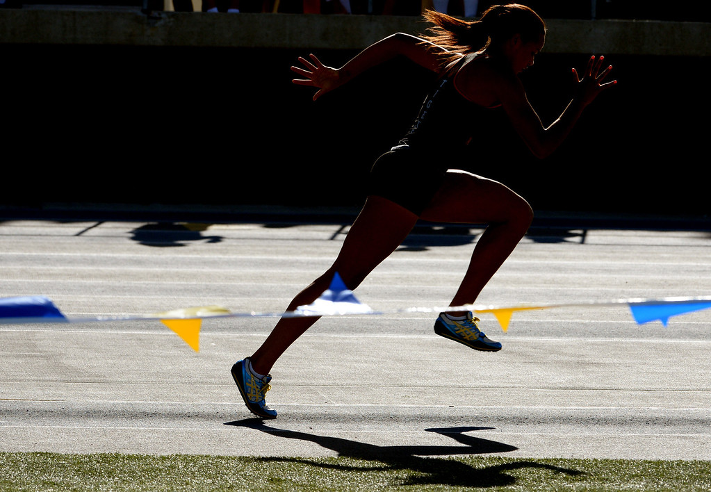 . South Pasadena\'s Jazmin Jackmon competes in the long jump during the CIF-SS Masters Track and Field meet at Falcon Field on the campus of Cerritos College in Norwalk, Calif., on Friday, May 30, 2014.   (Keith Birmingham/Pasadena Star-News)