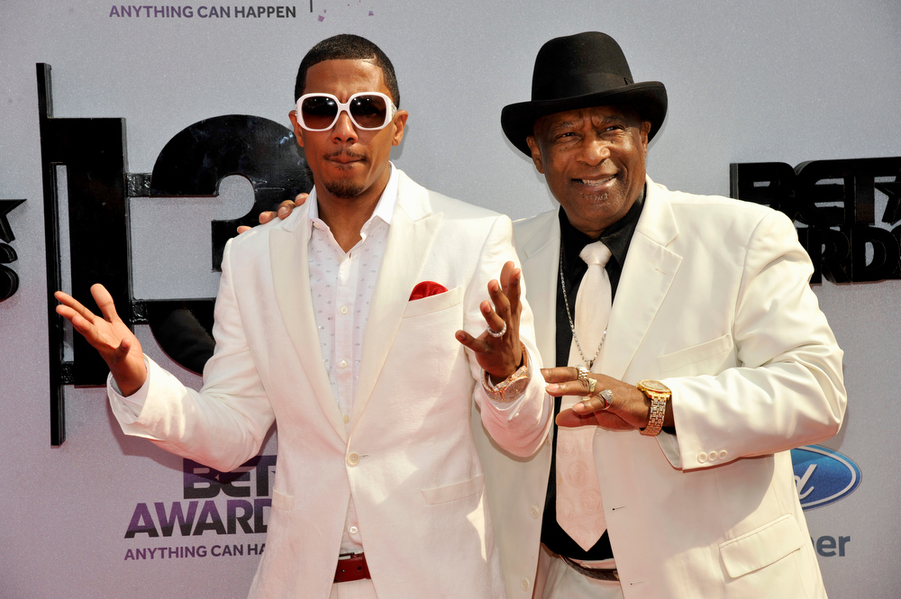 Description of . Nick Cannon, left, and James Cannon arrive at the BET Awards at the Nokia Theatre on Sunday, June 30, 2013, in Los Angeles. (Photo by Chris Pizzello/Invision/AP)