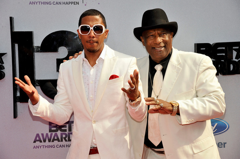 . Nick Cannon, left, and James Cannon arrive at the BET Awards at the Nokia Theatre on Sunday, June 30, 2013, in Los Angeles. (Photo by Chris Pizzello/Invision/AP)