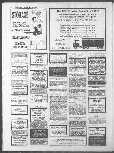 Daily Trojan, Vol. 108, No. 68, April 28, 1989