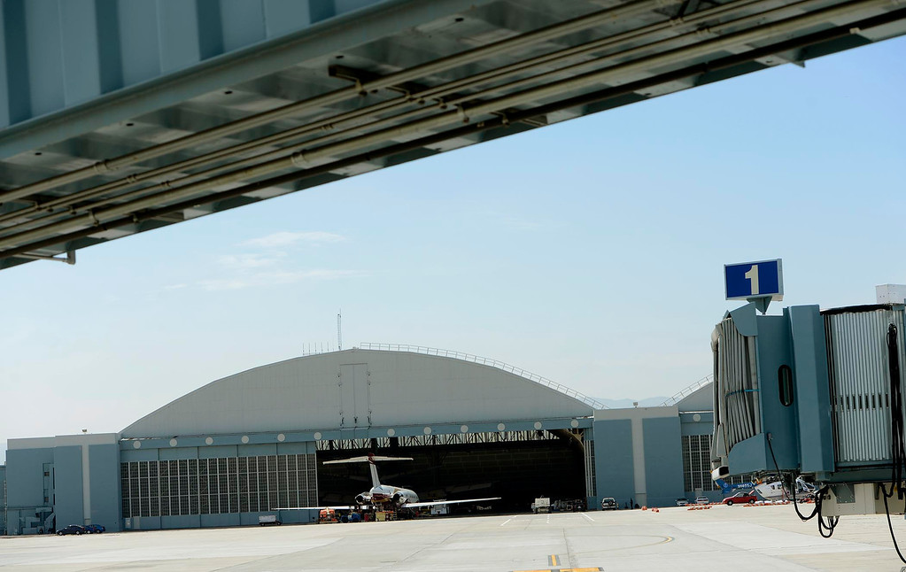 . A view of a hanger being leased by Aviation And Defense Incorporated at the San Bernardino International Airport March 28, 2013.  Built on the former the site of the former Norton Air Force Base, the airport is often described by local officials as one of the East Valley\'s best hopes for economic growth. Norton closed in 1994.  GABRIEL LUIS ACOSTA/STAFF PHOTOGRAPHER.
