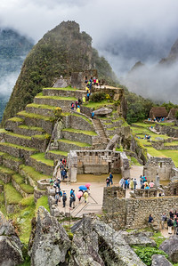 Sacred plaza and Intiwantana stone at Machu Picchu