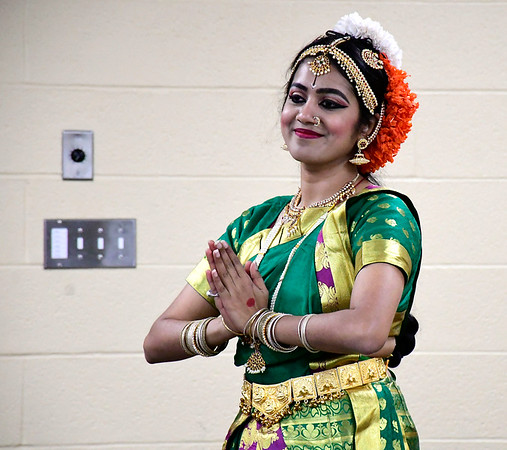 2/22/2020 Mike Orazzi | StaffrSomaja Pradeep demonstrates traditional Indian dance pieces in celebration of the festivals of Maha Shivarti and Holi while at the New Britain Public Library on Saturday afternoon.