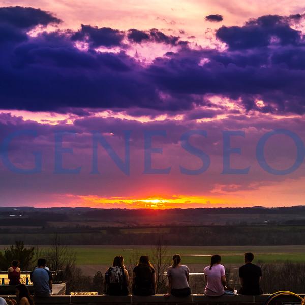 Students Watching Sunset