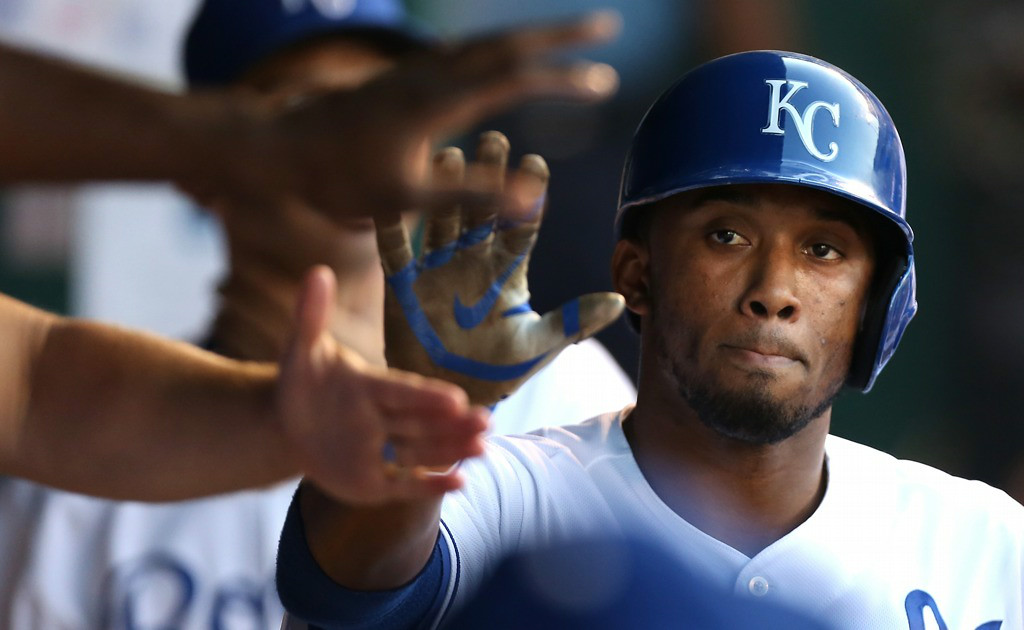 . Kansas City\'s Alcides Escobar celebrates after scoring on an Alex Gordon single in the first inning against the Twins. (Photo by Ed Zurga/Getty Images)