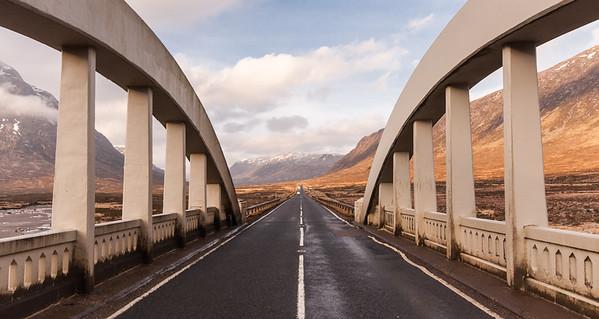 A82 road bridge crossing Rannoch Moor
