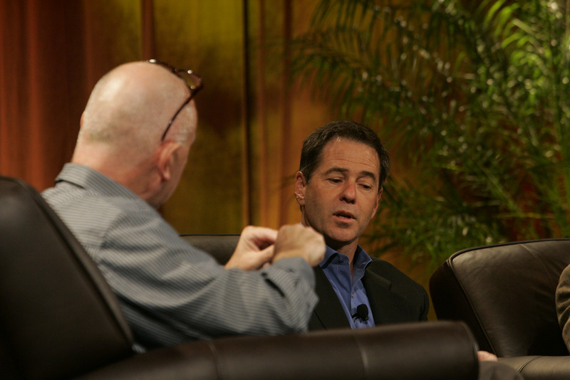"""""""Hotspots I"""": Moderator Steve Evans (L), Business Daily, BBC World Service; and Jim Marggraff, chair and CEO, Livescribe"""