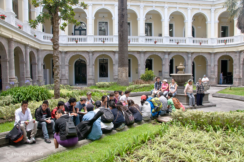 Quito, Ecuador Church & Monastery of San Francisco Students attending an outdoor class in the courtyard