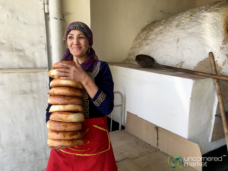 Fresh Liposhka (bread) from the Oven - Osh, Kyrgyzstan