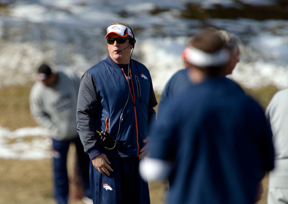 . Denver Broncos defensive coordinator Jack Del Rio looks on during practice January 9, 2014 at Dove Valley (Photo by John Leyba/The Denver Post)