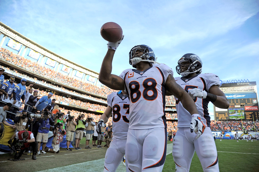 . SAN DIEGO, CA - DECEMBER 14: Denver Broncos wide receiver Demaryius Thomas (88) celebrates his touchdown against the San Diego Chargers during the third quarter December 14, 2014 at Qualcomm Stadium (Photo By John Leyba/The Denver Post)