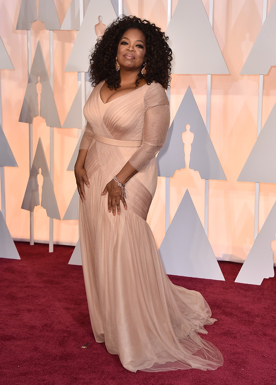. Oprah Winfrey arrives at the Oscars on Sunday, Feb. 22, 2015, at the Dolby Theatre in Los Angeles. (Photo by Jordan Strauss/Invision/AP)