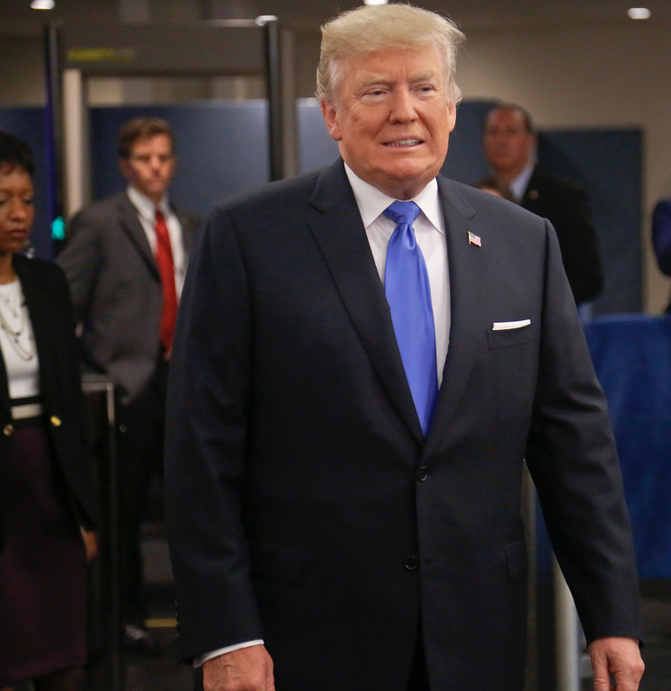 . President Donald Trump arrives for the meeting of the United Nations General Assembly, Tuesday Sept. 19, 2017 at U.N. headquarters. (AP Photo/Bebeto Matthews)
