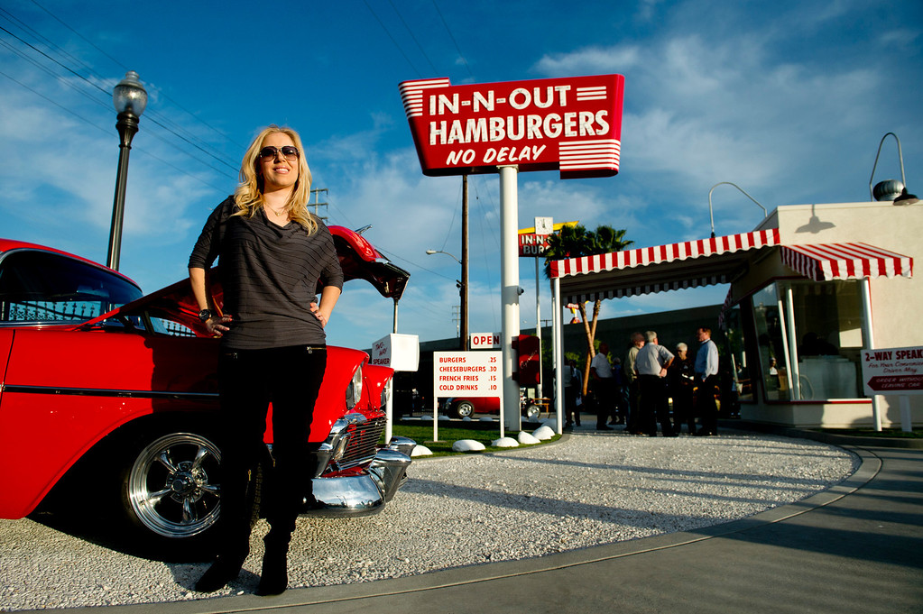 . President Lynsi Snyder of the In-N-Out hamburger chain during the unveiling of a replica of the first In-N-Out hamburger stand in Baldwin Park on Tuesday, Feb. 26, 2014. (Photo by Watchara Phomicinda/ San Gabriel Valley Tribune)
