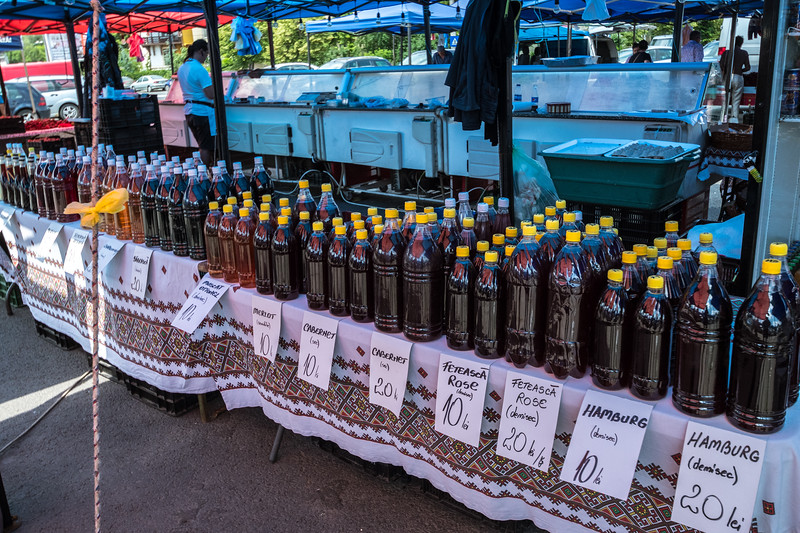 A local market sold wine by the 2-liter bottle.