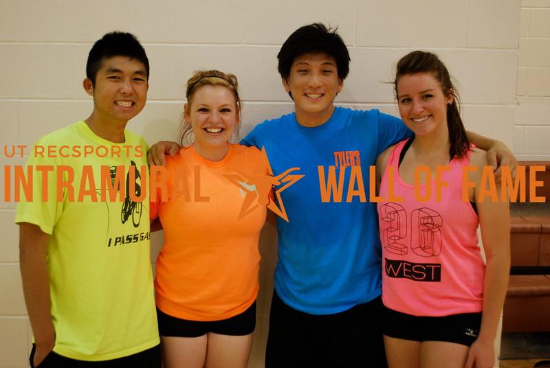 SPRING VOLLEYBALL Champion  White and Yellow  Johnny Thai, Rachel Zoet, Joseph Huang, Audrey Zatopek