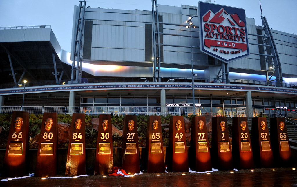. DENVER, CO - September 27 : The Denver Broncos Ring of Fame Plaza in Sports Authority Field at Mile High. Denver, Colorado. September 27, 2013. The Plaza features pillars honoring each of the 24 players in the Broncos� Ring of Fame. (Photo by Hyoung Chang/The Denver Post)